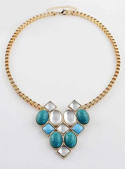 Blue Geometric Gemstone Gold Chain Necklace