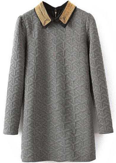 Grey Lapel Long Sleeve Geometric Pattern Dress