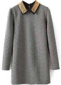 Grey Lapel Long Sleeve Geometric Pattern Dress
