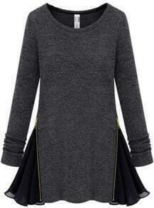 Dark Grey Long Sleeve Zipper Contrast Chiffon Dress