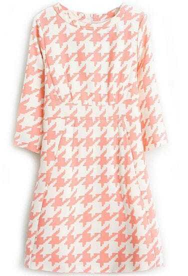 Pink White Half Sleeve Houndstooth Dress