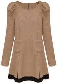 Khaki Long Sleeve Pockets Woolen Dress