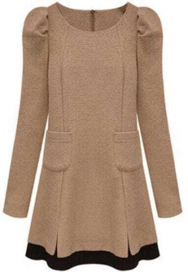 Khaki Long Sleeve Pockets Woolen Dress
