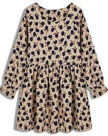 Apricot Long Sleeve Floral Pleated Dress