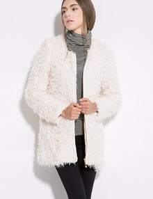 Beige Long Sleeve Shaggy Zipper Woolen Coat