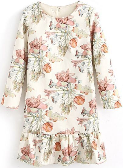 White Long Sleeve Floral Print Ruffle Dress