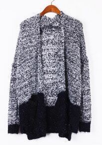 Grey Contrast Black Long Sleeve Sequined Cardigan