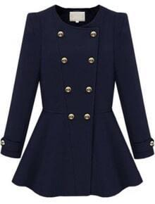 Navy Long Sleeve Double Breasted Ruffle Coat