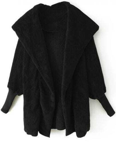 Black Lapel Long Sleeve Cape Coat