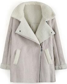 Beige Lapel Long Sleeve Wool Deerskin Coat
