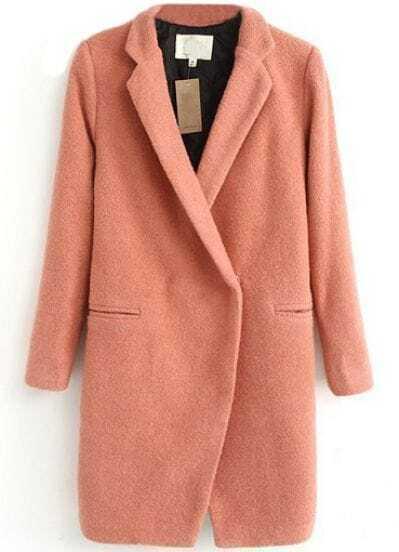 Pink Lapel Long Sleeve Simple Design Woolen Coat -SheIn(Sheinside)