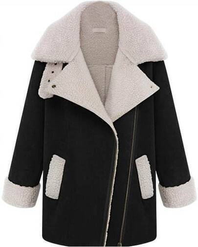 Black Lapel Long Sleeve Pockets Woolen Coat