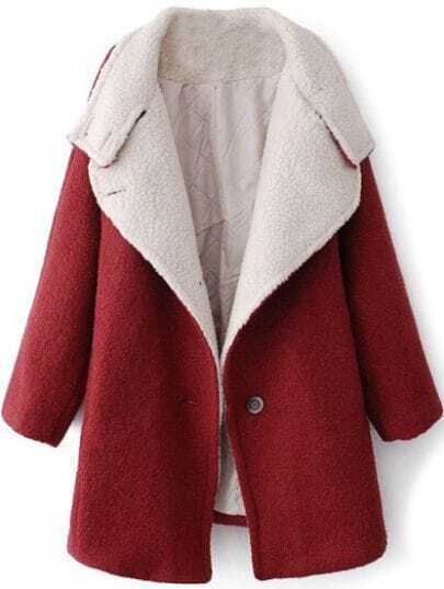Wine Red Lapel Batwing Long Sleeve Woolen Coat