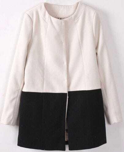 White Long Sleeve Contrast Black Woolen Coat