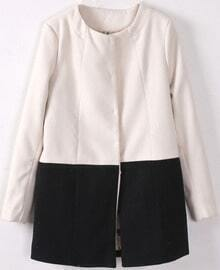 White Long Sleeve Contrast Black Woolen Coat