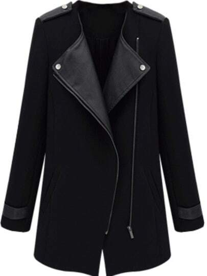 Black Contrast PU Leather Trims Oblique Zipper Coat