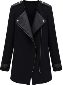 Contrast PU Leather Trims Oblique Zipper Coat -SheIn(Sheinside)