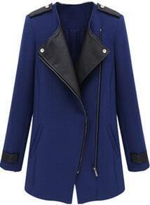 Blue Contrast PU Leather Trims Oblique Zipper Coat