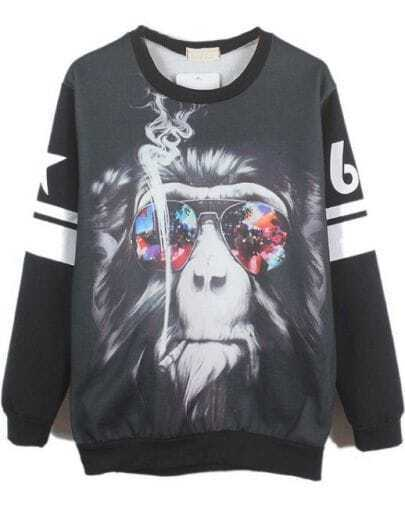 Black Long Sleeve Gorilla 69 Print Sweatshirt
