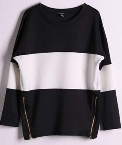 Black Contrast White Long Sleeve Side Zip Sweatshirt