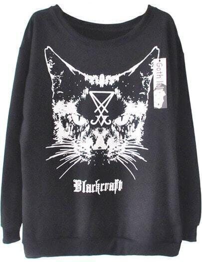 Black Craft Cat Print Long Sleeve Sweatshirt