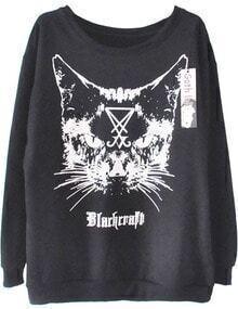 Black Craft Cat Print Long Sleeve Sweatshirt
