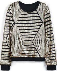Black Long Sleeve Sequined Striped Sweatshirt