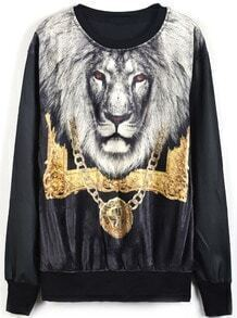 Black Contrast PU Leather Lion Print Sweatshirt
