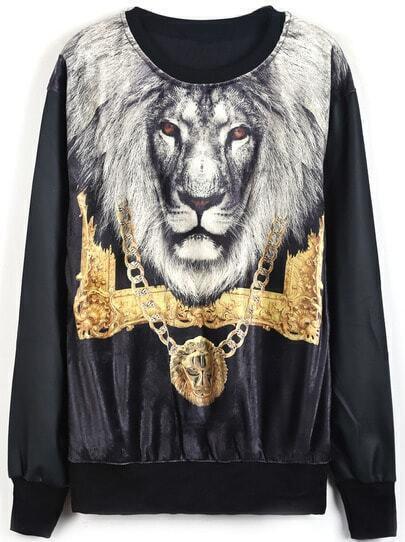 Black Contrast PU Leather Lion Print Sweatshirt