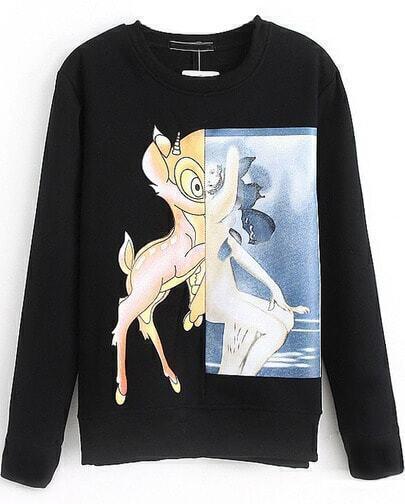 Black Deer Print Crew Neck Long Sleeve Sweatshirt