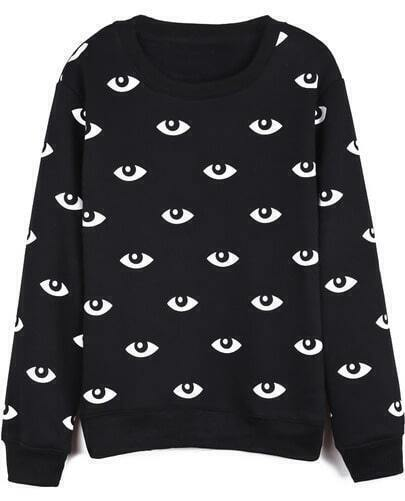 Black Long Sleeve Eyes Print Loose Sweatshirt