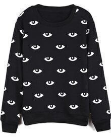 Black Long Sleeve Eyes Print Loose Sweatshirt