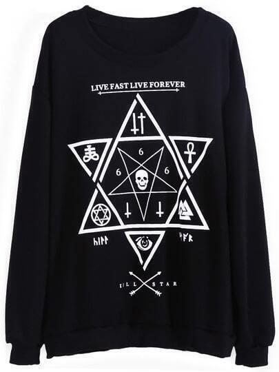 Black Long Sleeve Skull Six-pointed Star Print Sweatshirt