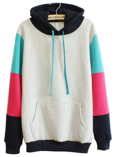 Grey Hooded Contrast Long Sleeve Pocket Sweatshirt
