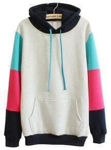 Grey Hooded Contrast Long Sleeve Pocket Sweatshirt