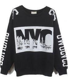 Black Long Sleeve NYC Print Loose Sweatshirt
