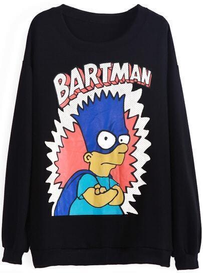 Black Long Sleeve BARTMAN Simpson Print Sweatshirt
