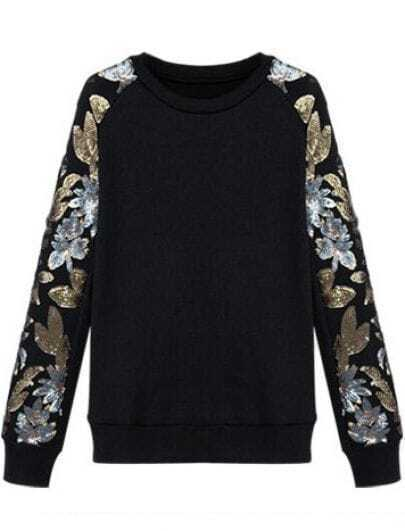Black Sequins Embellished Floral Leaf Sleeves Sweatshirt