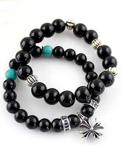 Black Bead Elastic Cross Bracelet