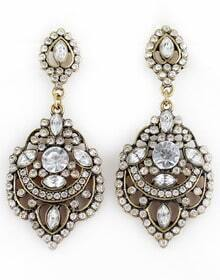 Retro Gold Diamond Hollow Earrings