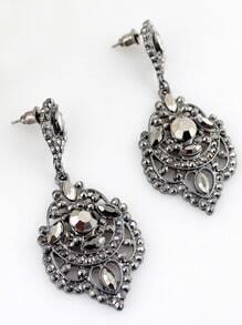 Retro Silver Diamond Hollow Earrings