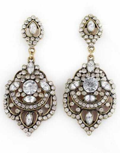 Pendientes vintage huecos diamante dorado