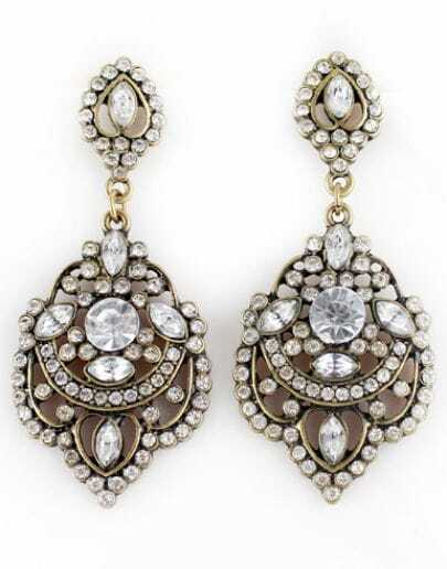 Retro Gold Diamond Hollow Earrings