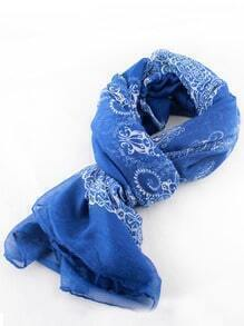 Blue Floral Silk Scarves