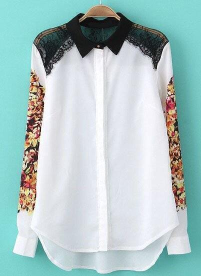 White Contrast Lace Shoulder Floral Blouse