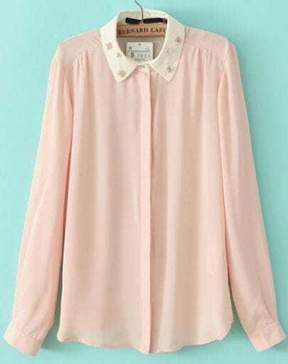 Pink Lapel Long Sleeve Bead Loose Blouse
