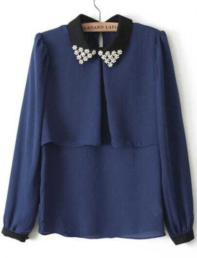 Blue Contrast Lapel Long Sleeve Bead Blouse