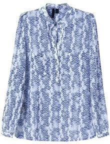 Blue Lapel Long Sleeve Floral Chiffon Blouse