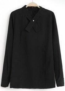 Black Long Sleeve Cross Collar Loose Blouse