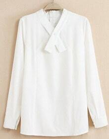 White Long Sleeve Cross Collar Loose Blouse